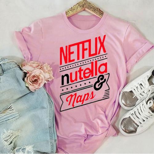 Netflix Logo Pink Half Sleeves Printed T-Shirt