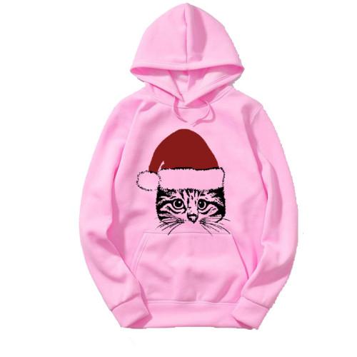 Santa Cat Pink Hoodies For Women