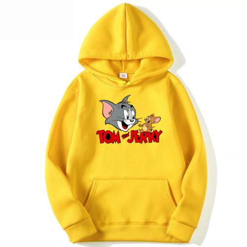 Tom & Jerry Yellow Printed Hoodie