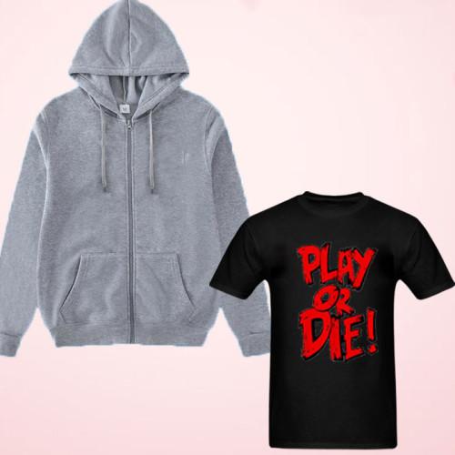 Play or Die Black T-Shirt with Zipper Hoodie