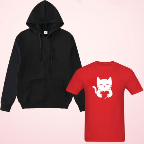 Love Cat Red T-Shirt With Zipper Hoodie For Ladies
