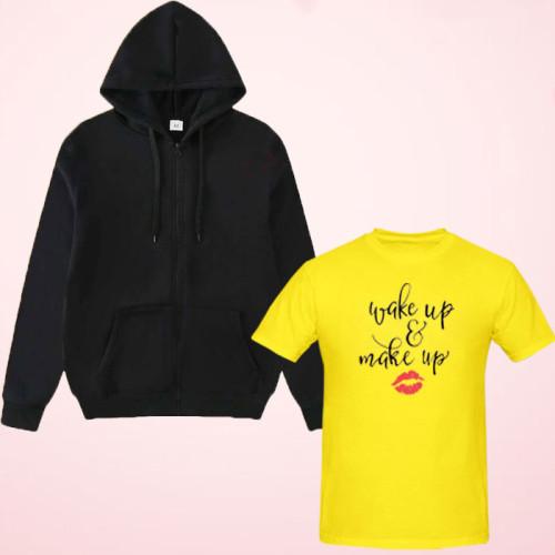 Wake up Yellow Printed T-Shirt with Zipper Hoodie