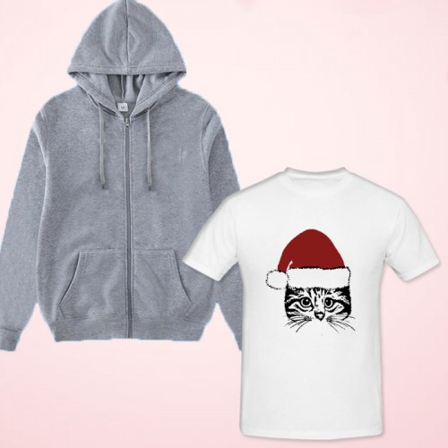 Santa Cat White Printed T-Shirt with Zipper Hoodie For Women