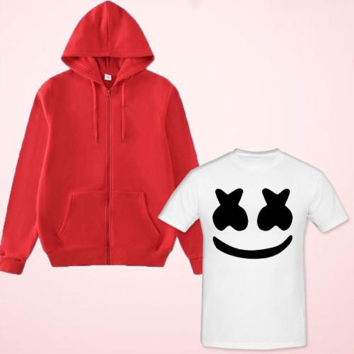 Marshmellow White Half Sleeves T-Shirt with Zipper Hoodie