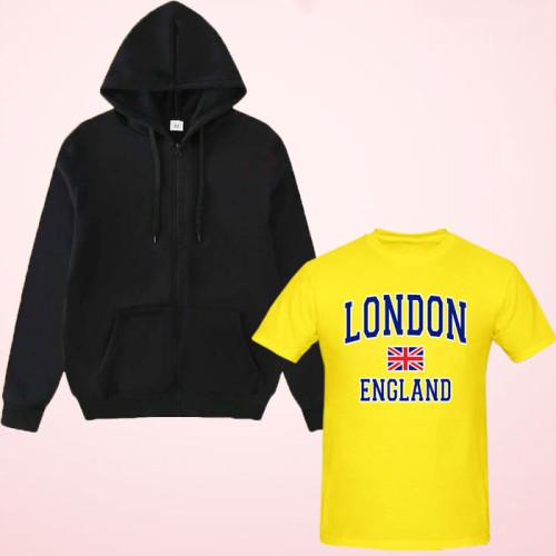 London Half Sleeves T-Shirt with Zipper Hoodie