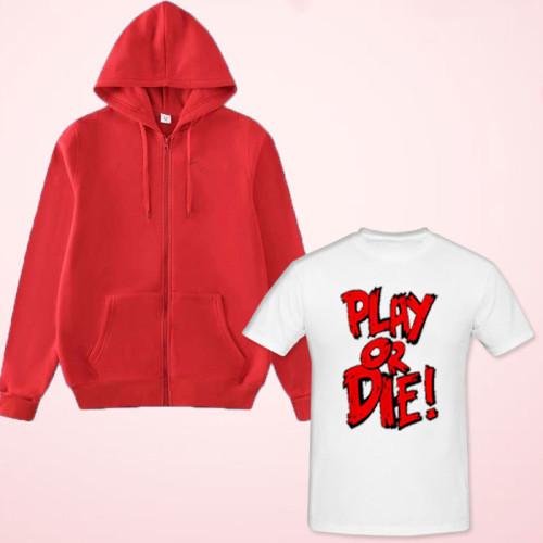 Play or Die White Printed T-Shirt with Zipper Hoodie